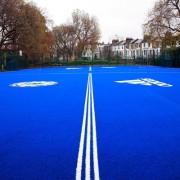 Blue artificial grass football field