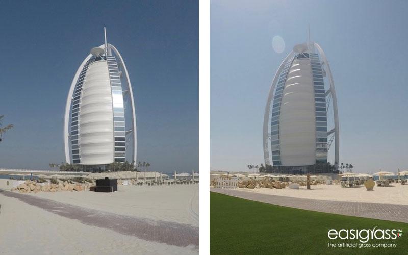 jumeirah beach hotel artificial-grass-installation by easigrass uae